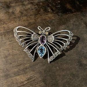 Butterfly 🦋 Silver & Amethyst Brooch/ Pendant
